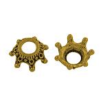 チベットスタイル合金ビーズラインストーンのセッティングをキャップ, カドミウムフリー&ニッケルフリー&鉛フリー, クラウン, アンティーク黄金, 12.5x12.5x5.5mm, 穴:4.5ミリメートル; 0.5ミリメートルラインストーンに適し、約1400個/ 1000 G