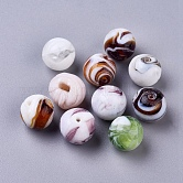 Handmade Lampwork Beads, Round, Mixed Color, 14mm, Hole: 1~2mm