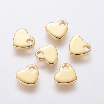 304 Stainless Steel Charms, Stamping Blank Tag, Heart, Golden, 6x7x1.5mm, Hole: 1.6mm