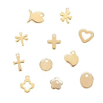 Encantos de 304 acero inoxidable, formas mixtas, dorado, 6~13.5x3~11.5x0.8~1.5mm, agujero: 1~1.2 mm