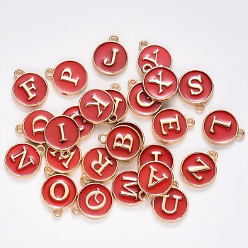 Golden Plated Alloy Enamel Charms, Enamelled Sequins, Flat Round with Alphabet, Letter A~Z, Turquoise, Dark Red, 14x12x2mm, Hole: 1.5mm; 26pcs/set