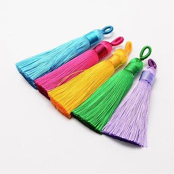 Polyester Tassel Big Pendant Decorations, Ice Silk Tassel, Mixed Color, 60~67x8mm, Hole: 5x7mm