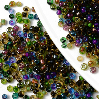 12/0 Perlas de semillas de vidrio, arcoiris de colores transparentes, agujero redondo, redondo, color mezclado, 12/0, 2~2.5x1.5~2.5mm, agujero: 0.7 mm, aproximadamente 44000pcs / bag, sobre 450g / bolsa