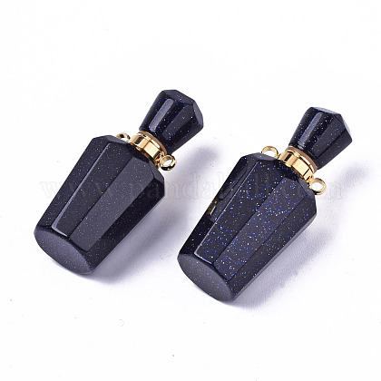 ファセットカットされた合成ブルーゴールドストーンペンダント  開閉可能な香水瓶  ゴールデントーン真鍮パーツ  ボトル  36x15.5x15mm  穴:1.8mm  ボトル容量:1ml(0.034液量オンス)G-T131-14B-1