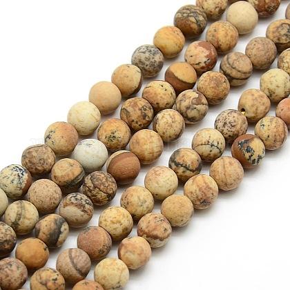 Chapelets de perles rondes en jaspe mat avec image naturelleG-M064-8mm-05-1