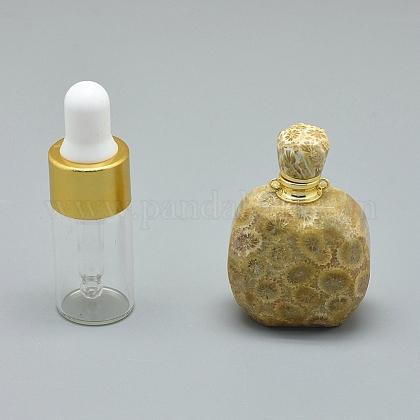 Colgantes de botella de perfume de piedra de crisantemo natural que se pueden abrirG-E556-20E-1