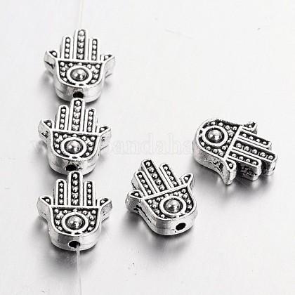 Aleación de estilo tibetano hamsa mano / mano de fatima / mano de miriam beadsTIBEB-7722-AS-RS-1