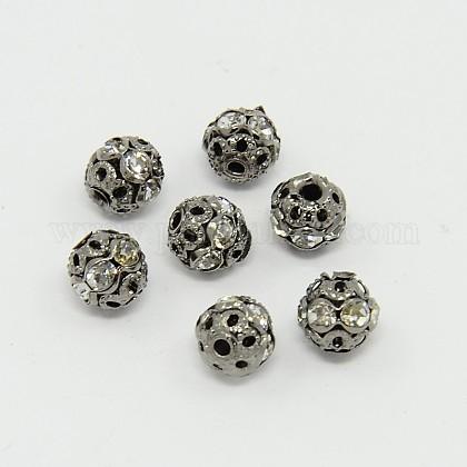 Abalorios de Diamante de imitación de latónRB-A011-6mm-01B-1