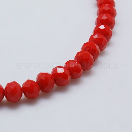 Opaque Solid Color Faceted Glass Beads Strands X-EGLA-J047-4x3mm-05-1