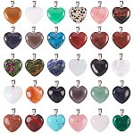 PandaHall Elite 30pcs 2 Size Mixed Color Heart Gemstone Pendants with Platinum Tone Brass Findings for Earring, Bracelets and Necklace Making