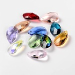 Faceted Drop Glass Pendants, Mixed Color, 22x13x7mm, Hole: 1mm