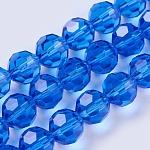 模造オーストリアクリスタルビーズ連売り, グレードAAA, 多面カットラウンド, ブルー, 8mm, 穴:0.9~1mm、約50個/連, 15.7