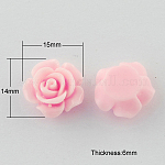 Resin Cabochons, Flower, PearlPink, 14x15x6mm