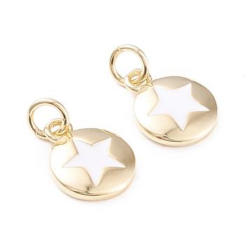 Charms del esmalte de bronce, con anillos de salto, Plateado de larga duración, plano y redondo con estrella, blanco, real 18k chapado en oro, 12.5x10x2mm, agujero: 3 mm
