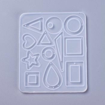 Hängende Silikonformen, Epoxidharz-Gießformen, für UV-Harz, DIY Schmuck Handwerk machen, geometrische Formen, weiß, 117x98x4~5 mm, Bohrung: 1~2 mm
