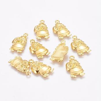 Colgantes de la aleación, sin plomo y cadmio, Navidad, santa claus, dorado, tamaño: aproximamente 13 mm de ancho, 24.9 mm de largo, 4 mm de espesor, agujero: 2 mm