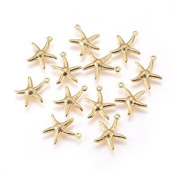 Breloques en 304 acier inoxydable, étoile de mer / étoiles de mer, or, 17x15x2mm, Trou: 1mm