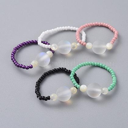 Cuentas de vidrio anillos elásticosRJEW-JR00285-1