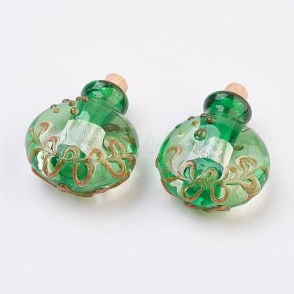 Colgantes de botellas de perfume de lampwork hecho a mano de plataFOIL-P001-B02-1