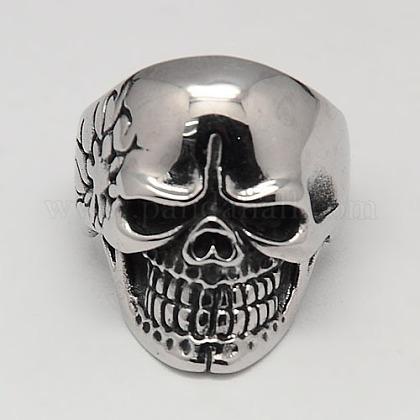 Unique Halloween Jewelry Skull Rings for MenRJEW-F006-130-1
