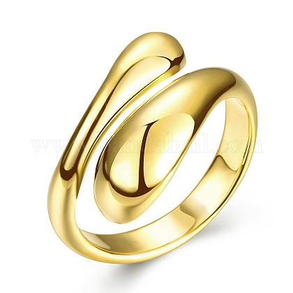 Real 18K Gold Plated Adjustable Brass Finger Rings for Women RJEW-BB07574-A-1