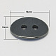 Non-Magnetic Hematite Buttons, Grade A, Oval, Black, 14x10x2mm, Hole: 2mm