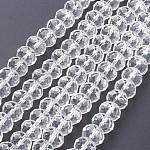 Cuentas de vidrio hecho a mano rondelle facetado, Para la elaboración de diy, Claro, 6x4mm, agujero: 1 mm; aproximamente 90~93 unidades / cadena