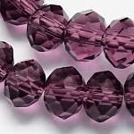 Abalorios de cristal hechos a mano, imitar cristal austriaco, rondelle facetas, púrpura, 8.00x6.00mm, agujero: 1.00 mm; aproximamente 68~70 unidades / cadena