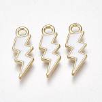 Alloy Pendants, with Enamel, Lightning Bolt, Light Gold, White, 20.5x7.5x2mm, Hole: 2mm