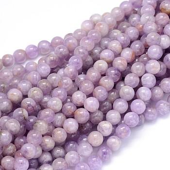 Chapelets de perles en jade lavande naturelle ronde de qualité B, 8mm, Trou: 1mm, Environ 49 pcs/chapelet, 15.3
