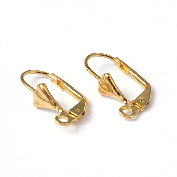 Golden Color Brass Leverback Earring Findings, with Loop, Nickel Free, about 10mm wide, 18mm long, Hole: 2mm