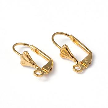 Fornituras de pendientes de palanca de bronce de color dorado, con bucle, sin níquel, aproximamente 10 mm de ancho, 18 mm de largo, agujero: 2 mm
