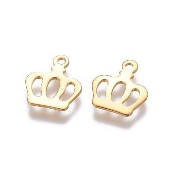 304 charms in acciaio inox, corona, oro, 13x11x0.5mm, Foro: 1.2 mm