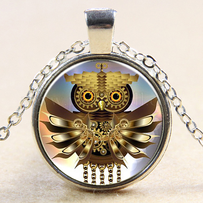 Owl Pattern Flat Round Glass Pendant Necklaces NJEW-N0051-055C-02-1