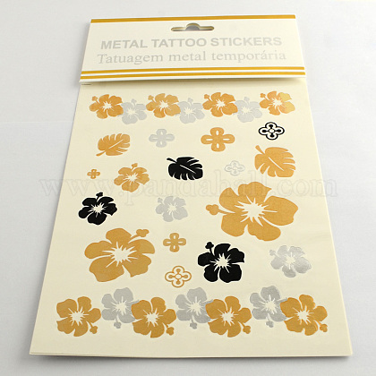 Mixed Flower Shapes Cool Body Art Removable Fake Temporary Tattoos Metallic Paper Stickers AJEW-Q081-37-1