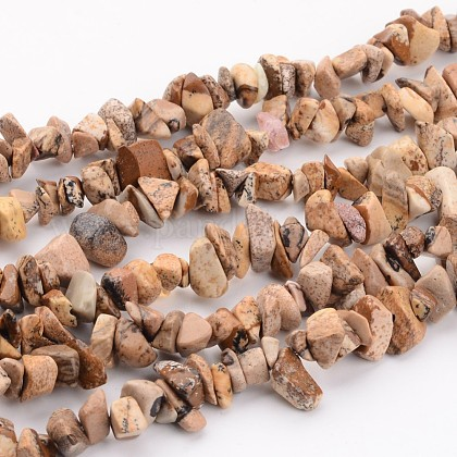 Natural Picture Jasper Chips Beads StrandsX-F002-1