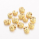 Brass Crimp Beads Covers, Round, Golden, About 5mm In Diameter, 4mm Thick, Hole: 2mm; about 106pcs/20g