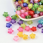 Transparent Acrylic Beads, Bead in Bead, Star(Round Bead Inside), Mixed Color, 12x11x8mm, Hole: 2mm; about 1200pcs/500g