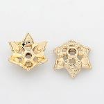 ニッケルフリー&鉛フリーライトゴールドトーン合金ビーズキャップ, 長持ちメッキ, 6花びら, 花, 13x5mm, 穴:2mm