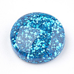Resin Cabochons, with Glitter Powder, Flat Round, DeepSkyBlue, 13.5~14x4~6mm