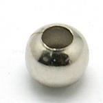 Brass Spacer Beads, Round, Platinum, 3mm, Hole: 1mm