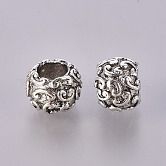Tibetan Style Alloy European Large Hole Beads, Rondelle, Lead Free  & Nickel Free, Antique Silver, 7.5x10mm, Hole: 4.5mm