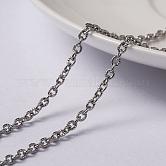 Chaînes de câbles texturées en 304 acier inoxydable avec placage sous vide, non soudée, avec bobine, ovale, couleur inoxydable, 3x2x0.6 mm; environ 10 m/rouleau
