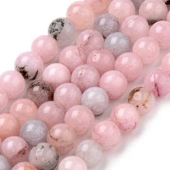 Chapelets de perles de fleur de cerisier en jaspe naturel, ronde, 8~8.5mm, trou: 1mm; environ 47 pcs/chapelet, 15.5 pouces