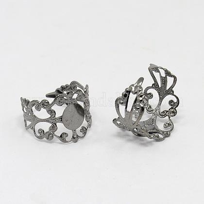 Latón vástagos anillo de filigranaKK-H063-B-1