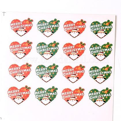 Corazón con pegatinas ilustradas de santa claus patrón de la etiqueta diy parche para la NavidadAJEW-L053-07-1