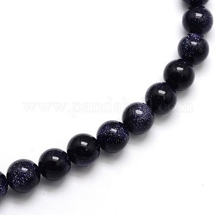 Synthetic Blue Goldstone Round Beads StrandsG-O047-11-10mm-1