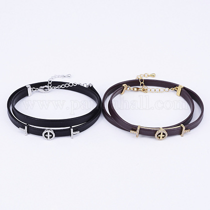 PU Leather Cord Choker Necklaces NJEW-H477-41-1