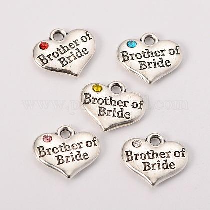 La fuente del partido de la boda de plata antigua rhinestone aleación de corazón tallado hermano palabra de los charms de la familia de la novia de la bodaX-TIBEP-N005-27-1