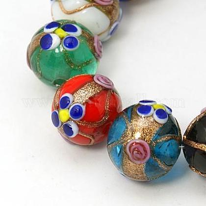 Handmade Gold Sand Lampwork Beads StrandsLAMP-G068-01-1